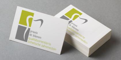 Logo und Visitenkarte Zahnarztpraxis Dr. Klemm