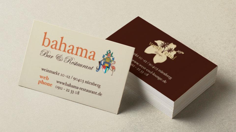 Visitenkarten Bahama Bar & Restaurant | Westend Lounge